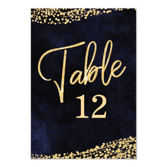Navy Blue Watercolor & Gold Table Number Seating Card