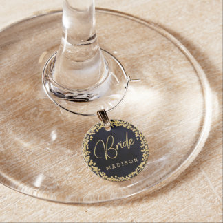 Navy Blue Watercolor & Gold Wedding Bride Monogram Wine Charm