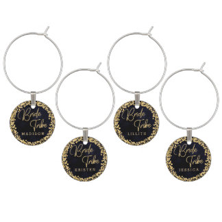 Navy Blue Watercolor & Gold Wedding Bride Tribe Wine Charm