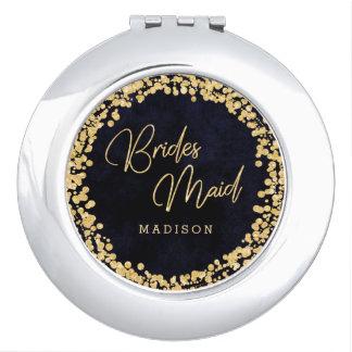 Navy Blue Watercolor & Gold Wedding Bridesmaid Compact Mirror