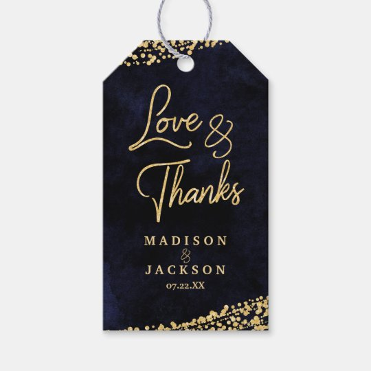 Navy Blue Watercolor & Gold Wedding Love & Thanks Gift Tags