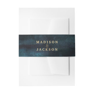 Navy Blue Watercolor & Gold Wedding Monogram Invitation Belly Band