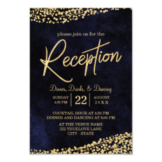 Navy Blue Watercolor & Gold Wedding Reception Card