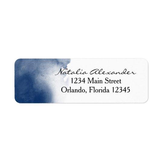 Navy Blue Watercolor Return Address Label