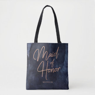 Navy Blue Watercolor & Rose Gold Maid of Honor Tote Bag