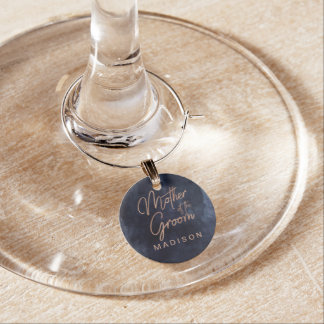 Navy Blue Watercolor Rose Gold Mother of the Groom Wine Charm