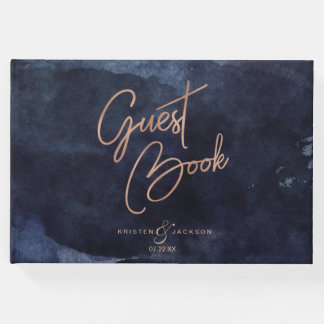 Navy Blue Watercolor & Rose Gold Wedding Monogram Guest Book