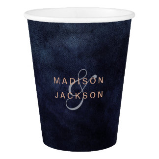 Navy Blue Watercolor & Rose Gold Wedding Monogram Paper Cup