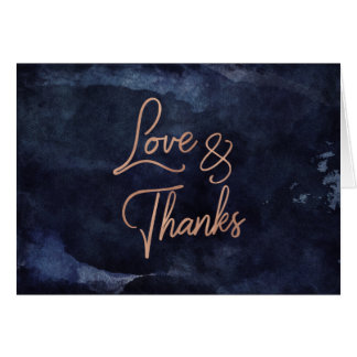 Navy Blue Watercolor & Rose Gold Wedding Thank You Card