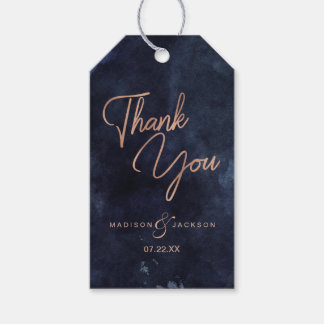 Navy Blue Watercolor & Rose Gold Wedding Thank You Gift Tags