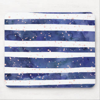 Navy blue watercolor stripes blush pink splatters mouse pad