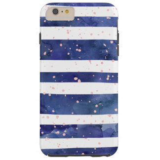 Navy blue watercolor stripes trendy pink confetti tough iPhone 6 plus case
