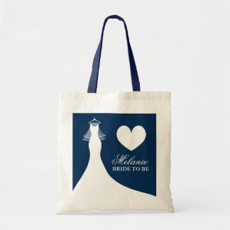 Navy blue wedding dress tote bag for bride to be