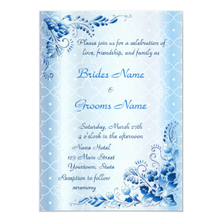 "Navy Blue Wedding Invitation on Lace Ice-blue 5"" X 7"" Invitation Card"