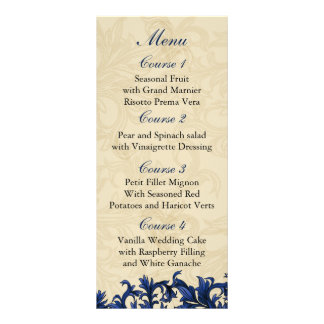 """navy blue""  Wedding menu Rack Card Design"