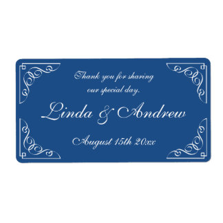 Navy blue wedding party favor water bottle labels
