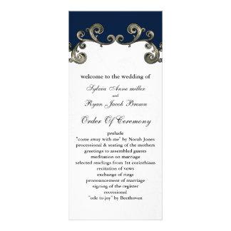 """navy blue"" Wedding program Rack Cards"