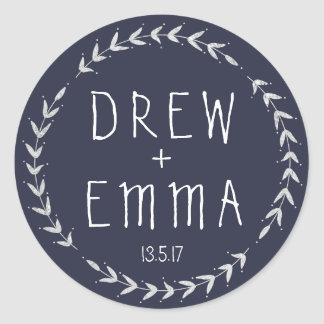 Navy Blue Wedding Sticker Wreath
