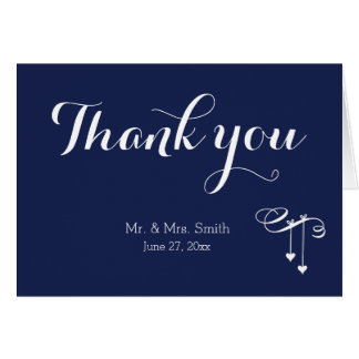 Navy Blue Wedding Thank You Cards With Hearts