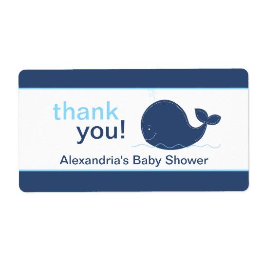 Navy Blue Whale Customised Sticker Shipping Label