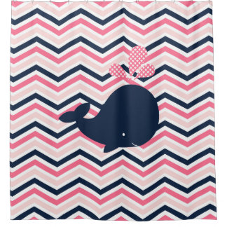 Navy Blue Whale on Pink, Navy Chevron Stripes Shower Curtain