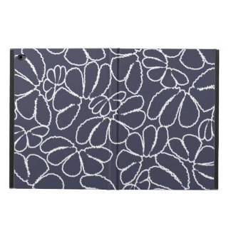 Navy Blue Whimsical Ikat Floral Doodle Pattern Powis iPad Air 2 Case