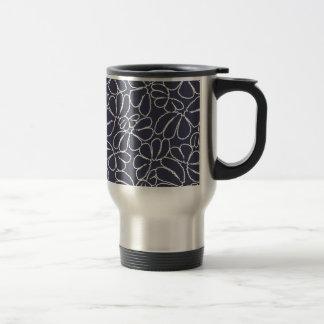 Navy Blue Whimsical Ikat Floral Doodle Pattern Coffee Mug