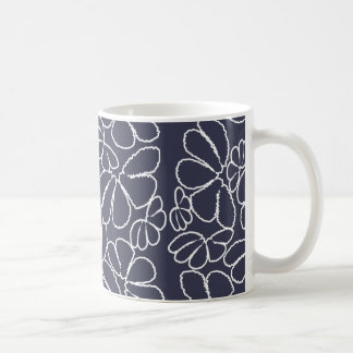 Navy Blue Whimsical Ikat Floral Doodle Pattern Coffee Mugs