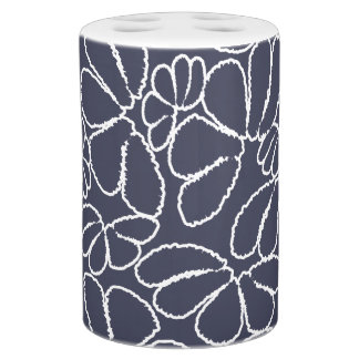 Navy Blue Whimsical Ikat Floral Doodle Pattern Toothbrush Holders