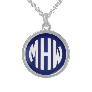 Navy Blue White 3 Initials in a Circle Monogram Personalized Necklace