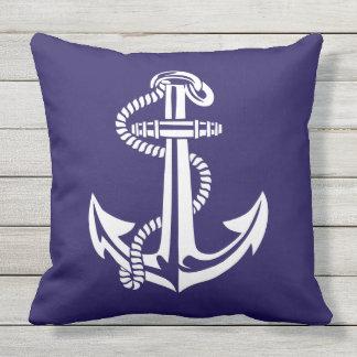 Navy Blue White Anchor Nautical Cushion