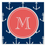 Navy Blue White Anchors Pattern, Coral Monogram