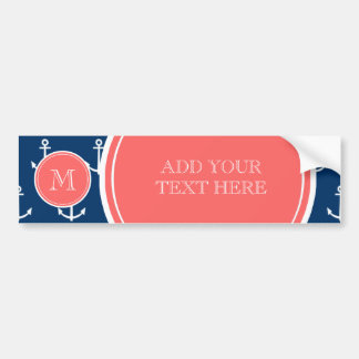 Navy Blue White Anchors Pattern, Coral Monogram Bumper Sticker