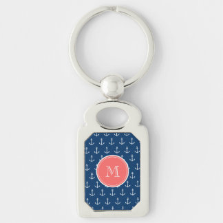 Navy Blue White Anchors Pattern, Coral Monogram Silver-Colored Rectangle Key Ring
