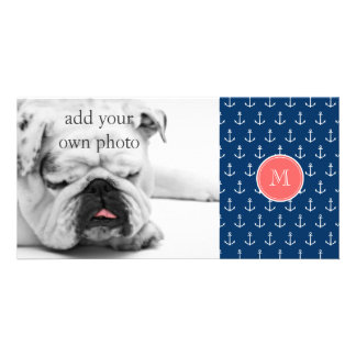 Navy Blue White Anchors Pattern, Coral Monogram Picture Card
