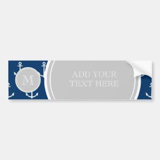 Navy Blue White Anchors Pattern, Gray Monogram Bumper Sticker
