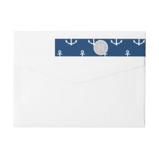 Navy Blue White Anchors Pattern, Gray Monogram Wraparound Return Address Label