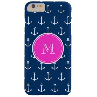 Navy Blue White Anchors Pattern, Hot Pink Monogram Barely There iPhone 6 Plus Case