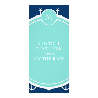 Navy Blue White Anchors Pattern, Mint Green Monogr Personalized Rack Card