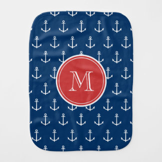 Navy Blue White Anchors Pattern, Red Monogram Baby Burp Cloth