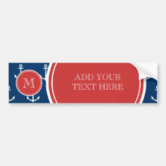 Navy Blue White Anchors Pattern, Red Monogram Bumper Sticker