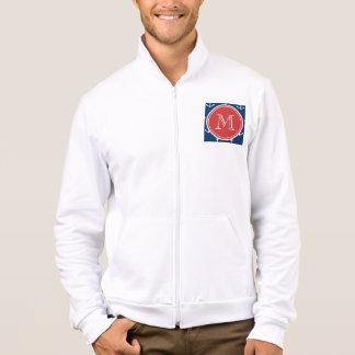 Navy Blue White Anchors Pattern, Red Monogram Jacket