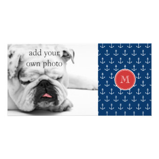 Navy Blue White Anchors Pattern, Red Monogram Custom Photo Card