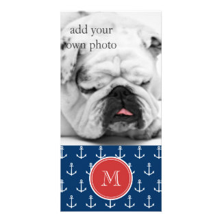 Navy Blue White Anchors Pattern, Red Monogram Personalized Photo Card