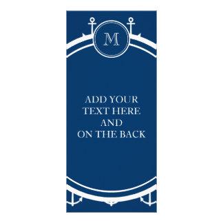 Navy Blue White Anchors Pattern, Your Monogram Full Colour Rack Card