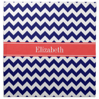 Navy Blue White Chevron Coral Red Name Monogram Printed Napkins