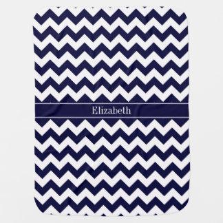 Navy Blue White Chevron Navy Name Monogram Pramblanket