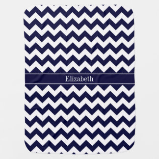 Navy Blue White Chevron Navy Name Monogram Pram blanket