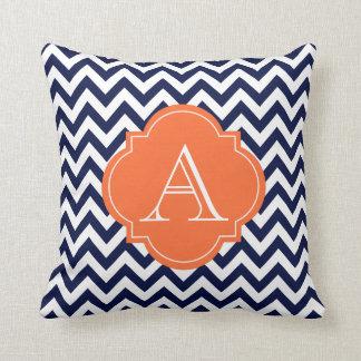 Navy Blue & White Chevron Orange Monogram Pillow