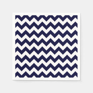 Navy Blue White Chevron Zig-Zag Pattern Disposable Napkin